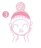 まぶたの上をケアする場合は、必ず目を閉じ、マスクをあててご使用ください。